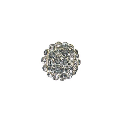 Swarovski 40515 crystal mesh balls, crystal silver night rhinestone mesh on dark grey crystal pearl, casing color silver