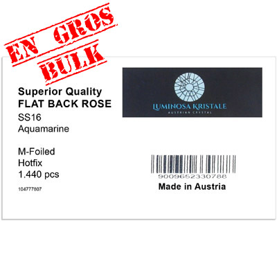 Flat back first quality crystals, ss 16 size, hotfix, aquamarine. Made in Austria