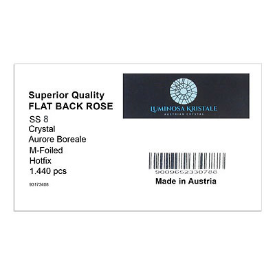 Luminosa flat back first quality crystals, ss8 size, hotfix, crystal AB. Made in Austria