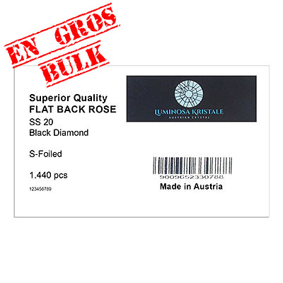 Luminosa flat back first quality crystals, ss20 size, black diamond. Made in Austria