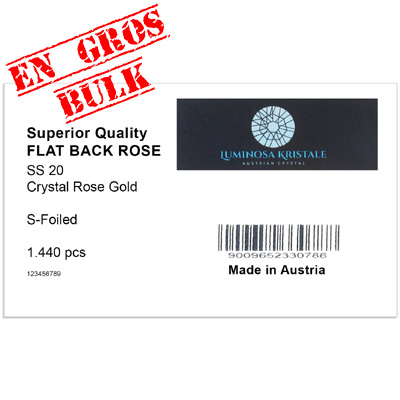 Luminosa flat back first quality crystals, ss20 size, crystal rose gold. Made in Austria