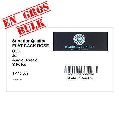 Luminosa flat back first quality crystals, ss20 size, jet AB. Made in Austria