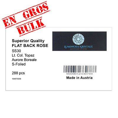 Flat back first quality crystals, ss30 size, light Colorado topaz AB. Made in Austria