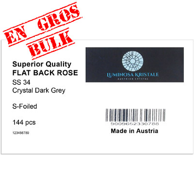 Flat back first quality crystals, ss 34 size, crystal dark grey. Made in Austria
