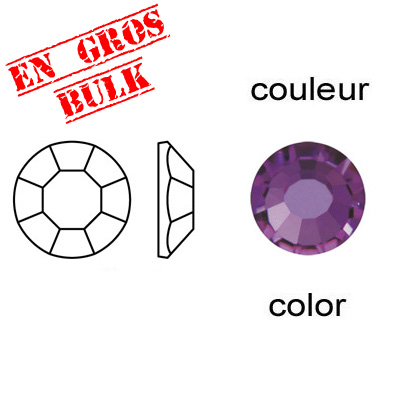 Chaton rose, machine cut, hot fix, ss10 size, amethyst color