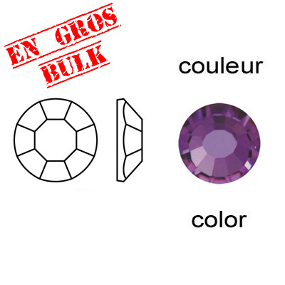 Chaton rose, machine cut, hot fix, ss16 size, amethyst color