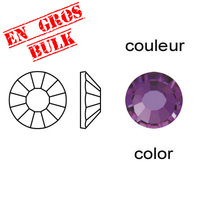 Chaton rose, machine cut, ss30 size, amethyst color