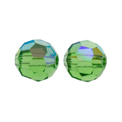 Czech machine cut glass beads, 10mm, faceted round, AB peridot