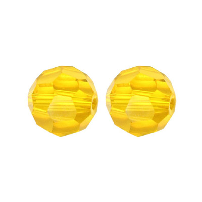 Czech machine cut glass beads, 6mm, faceted round, light topaz