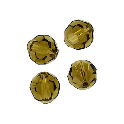 Czech machine cut glass beads, 8mm, faceted round, gold beryl