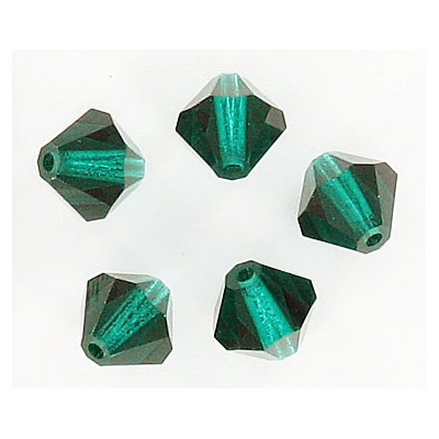 Czech machine cut glass beads, 8x8mm, bicone, emerald