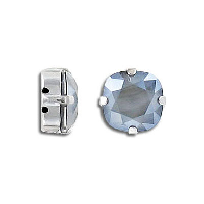Swarovski mounted jewel, 10mm, square, crystal dark grey, rhodium plate