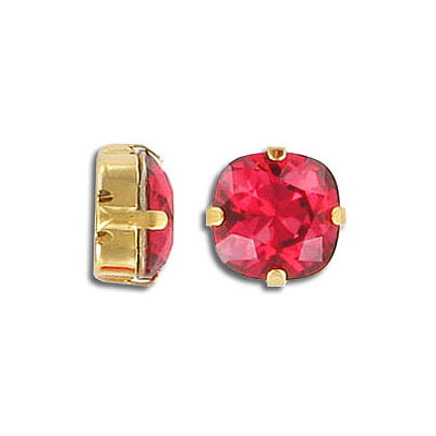 Swarovski mounted jewel, 10mm, square, scarlet, gold plate
