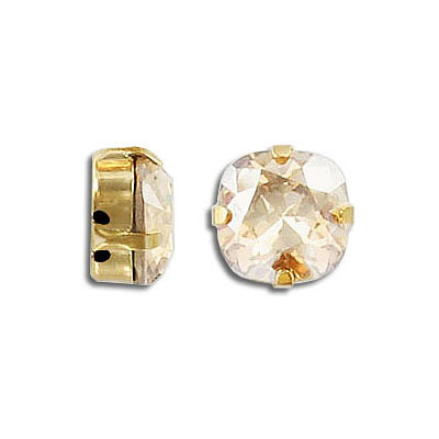 Swarovski mounted jewel, 10mm, square, crystal golden shadow, gold plate