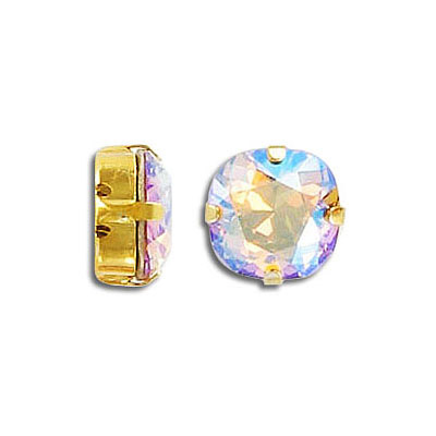 Swarovski mounted jewel, 10mm, square, light Colorado topaz, shimmer coating, gold plate
