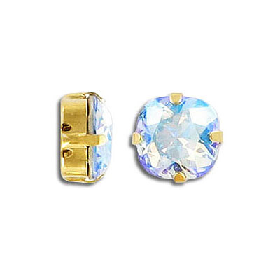 Swarovski mounted jewel, 10mm, square, light sapphire, shimmer coating, gold plate