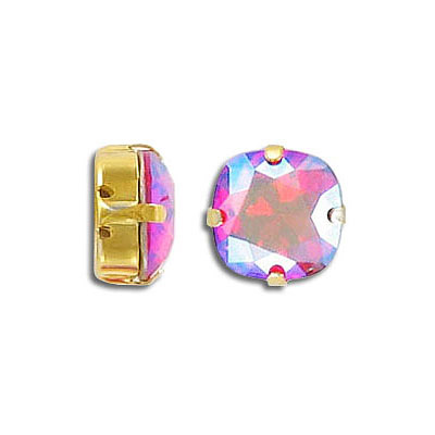Swarovski mounted jewel, 10mm, square, light siam, shimmer coating, gold plate