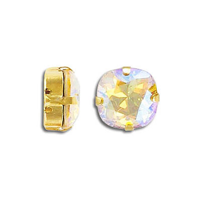 Swarovski mounted jewel, 10mm, square, light topaz, shimmer coating, gold plate