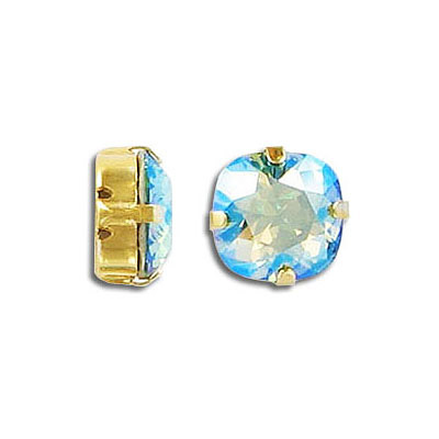 Swarovski mounted jewel, 10mm, square, erinite, shimmer coating, gold plate