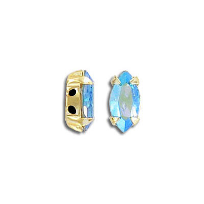 Swarovski mounted jewel, 10x5mm, navette, aquamarine AB, gold plate