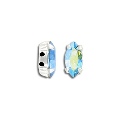 Mounted jewel, 10x5mm, navette, ab aqua color, silver plate