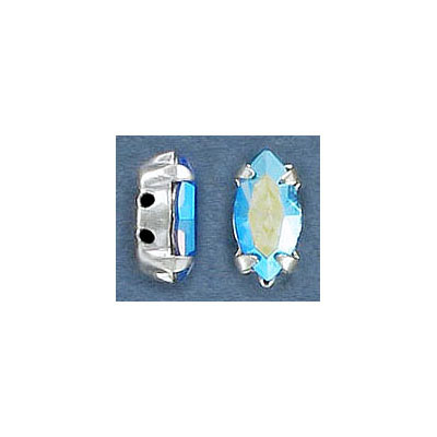 Swarovski mounted jewel, 10x5mm, navette, ab light sapphire, silver plate