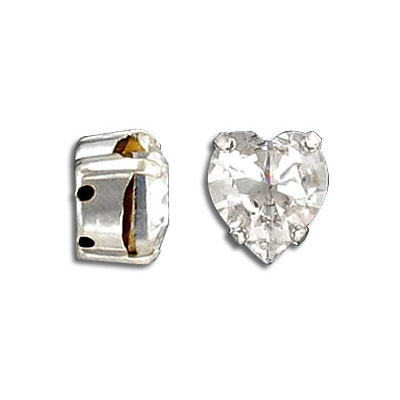 Mounted jewel, 11x10mm, heart, crystal color, silver plate, Swarovski