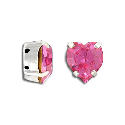 Mounted jewel, 11x10mm, heart, rose color, silver plate, Swarovski