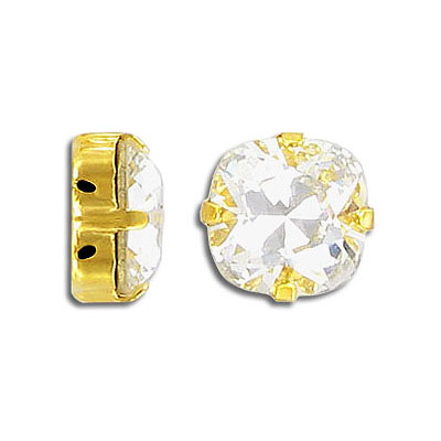 Swarovski mounted jewel, 12mm, square, crystal gold, silver plate