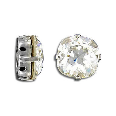 Swarovski mounted jewel, 12mm, square, crystal clear, rhodium plate