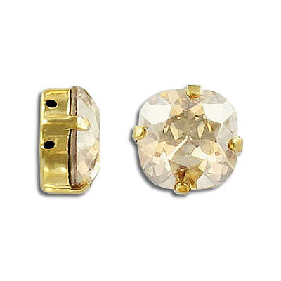 Swarovski mounted jewel, 12mm, square, crystal golden shadow, gold plate