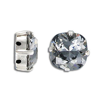 Swarovski mounted jewel, 12mm, square, crystal silver night, silver plate