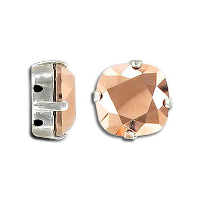 Swarovski mounted jewel, 12mm, crystal rose gold, rhodium plate