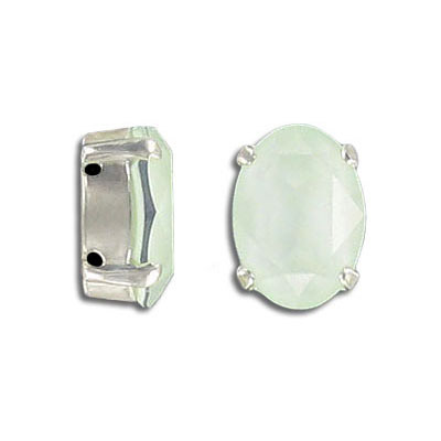 Swarovski mounted jewel, 14x10mm, oval, crystal powder green color, silver plate setting
