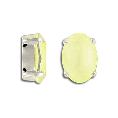 Swarovski mounted jewel, 14x10mm, oval, crystal powder yellow color, silver plate setting