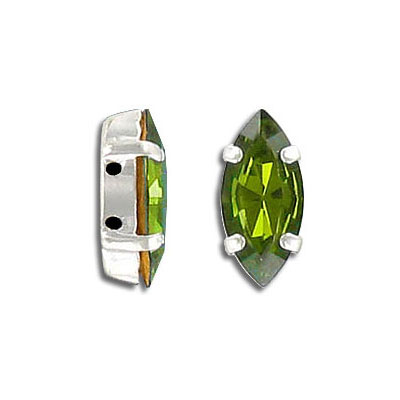 Mounted jewel, 15x7mm, navette, olivine color, silver plate