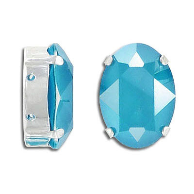 Swarovski mounted jewel, 18x13mm, oval, crystal azure blue, silver plate