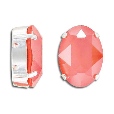 Swarovski mounted jewel, 18x13mm, oval, crystal light coral, silver plate