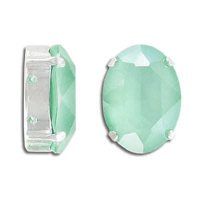 Swarovski mounted jewel, 18x13mm, oval, crystal mint green, silver plate