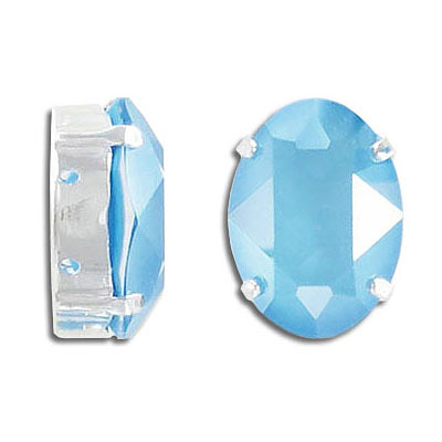 Swarovski mounted jewel, 18x13mm, oval, crystal summer blue, silver plate