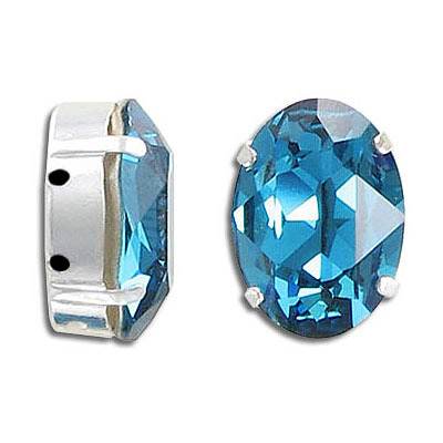 Swarovski mounted jewel, 18x13mm, oval, indicolite, silver plate