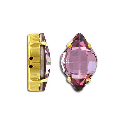 Swarovski mounted jewel, 19x12mm, lemon, crystal antique pink, gold plate