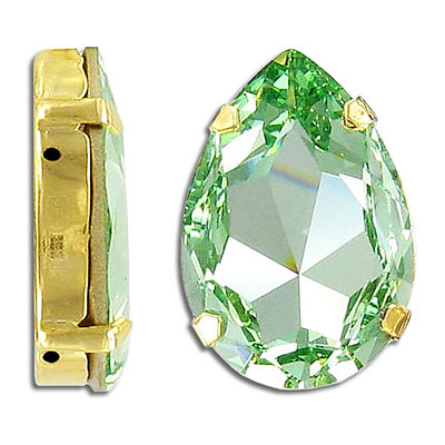 Swarovski mounted jewel, 30x20mm, pear shaped, chrysolite, gold plate