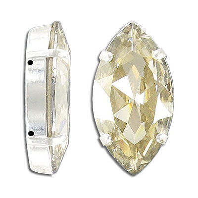 Swarovski mounted jewel, 32x17mm, navette, crystal silver shade, gold plate