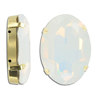 Swarovski mounted jewel, 39x28mm, oval, white opal color, gold plate
