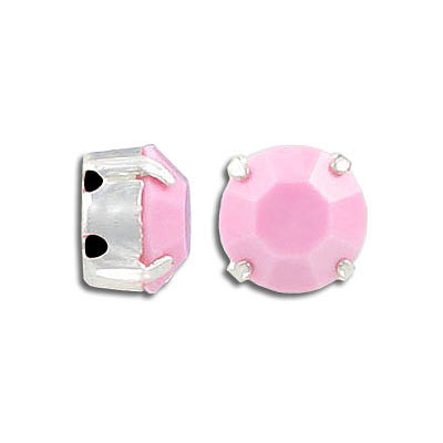 Swarovski mounted jewel, SS48, opaque pink, silver plate