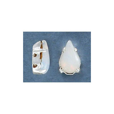 Sew-on mounted jewel, 10mm, smooth pear, white opal, silver plate