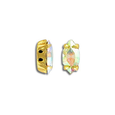 Mounted jewel, sew-on, 10x5mm, navette, ab crystal, gold plate