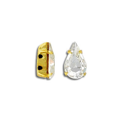 Mounted jewel, 10x6mm, pear shape, crystal, gold plate