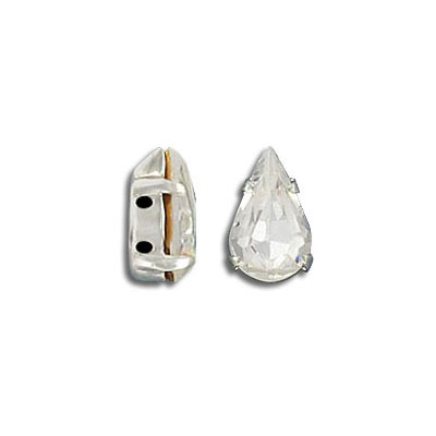 Mounted jewel, 10x6mm, pear shape, crystal, silver plate